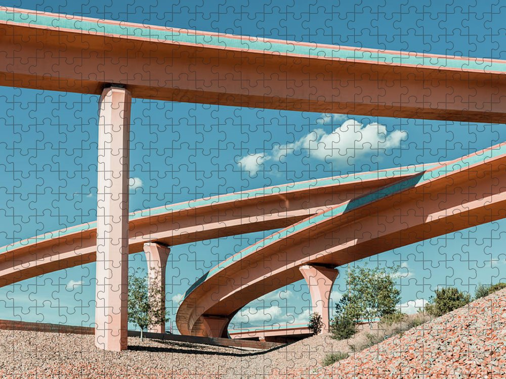 Autobahn Puzzle featuring the photograph New Mexico Albuquerque Interstate by Mlenny