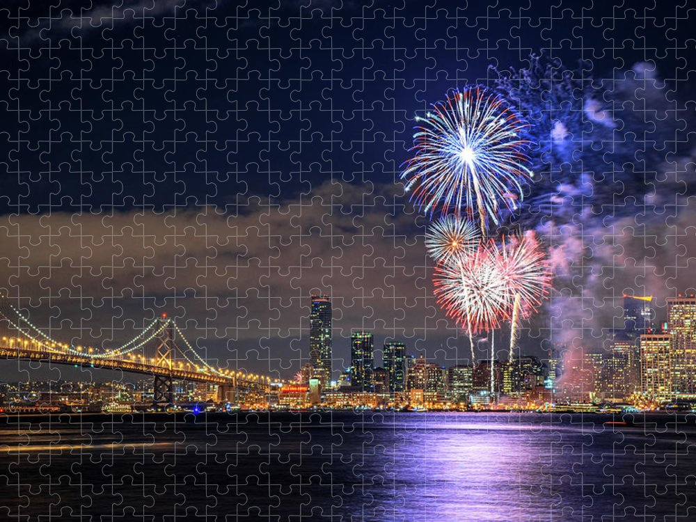 Firework Display Puzzle featuring the photograph New Year Fireworks by Piriya Photography