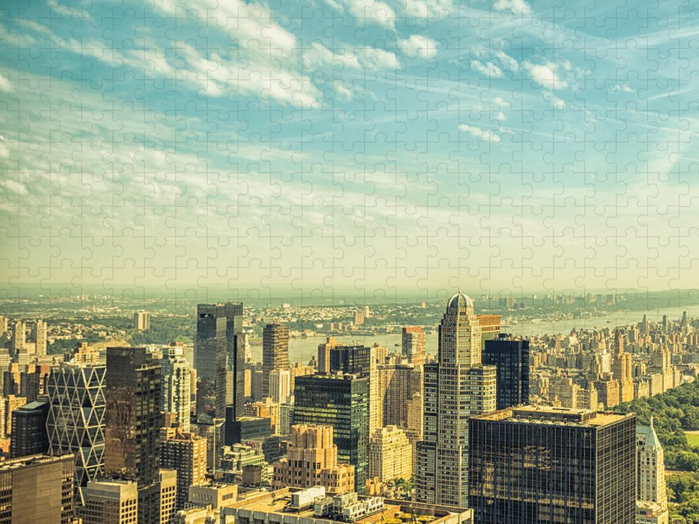 Lower Manhattan Puzzle featuring the photograph New York City Skyline With Central Park by Franckreporter
