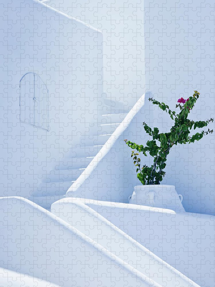 Steps Puzzle featuring the photograph Nice White Stairs In Oia Village by Mbbirdy