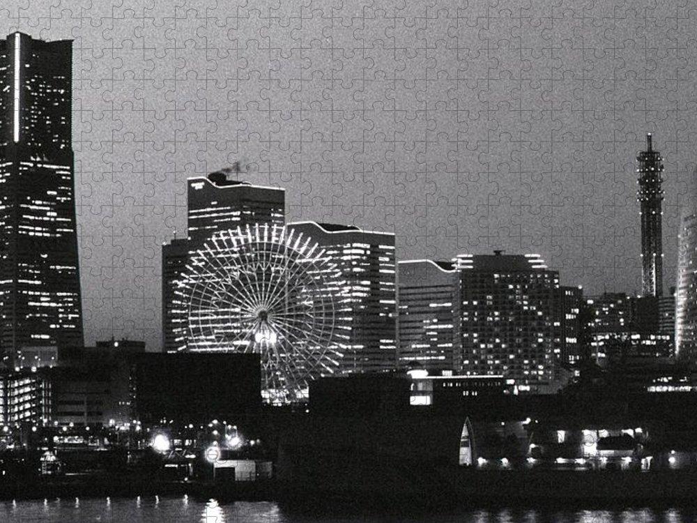 Yokohama Puzzle featuring the photograph Night Scene Of Yokohama by Snap Shooter Jp