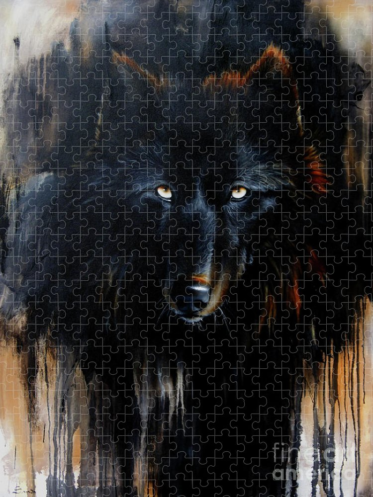 Wolf Puzzle featuring the painting Noir by Sandi Baker