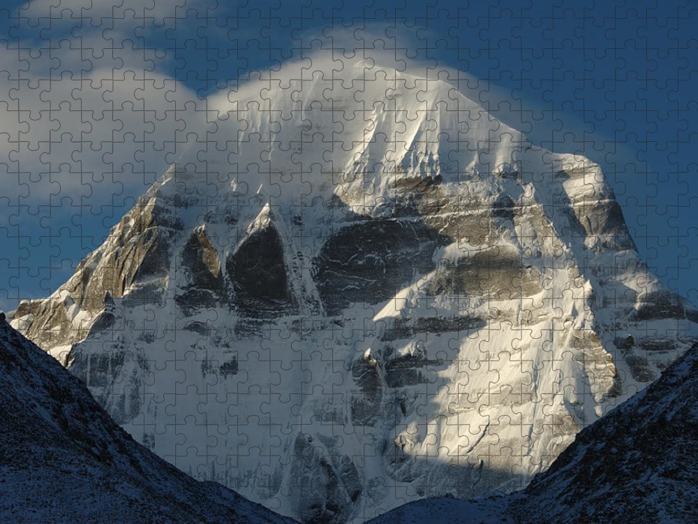 Chinese Culture Puzzle featuring the photograph North Face Of Mount Kailash Gang by Tcp