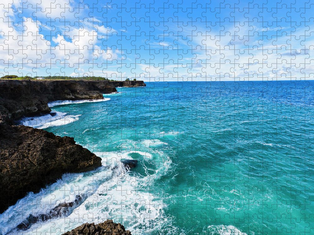 Water's Edge Puzzle featuring the photograph North Point, Barbados by Argalis