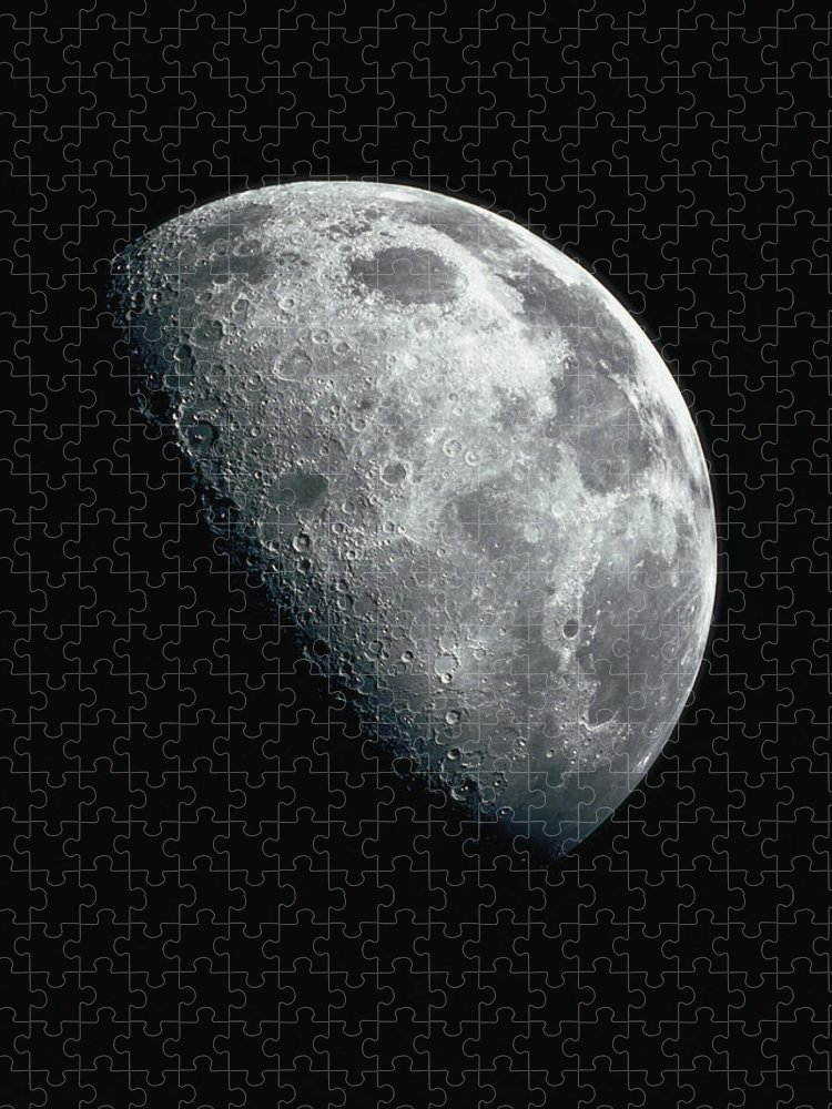 Clear Sky Puzzle featuring the photograph North Pole Of The Earths Moon by Stocktrek