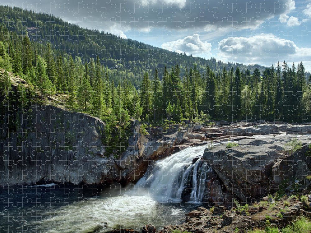 Scenics Puzzle featuring the photograph Norway Waterfall by Ralph Oechsle