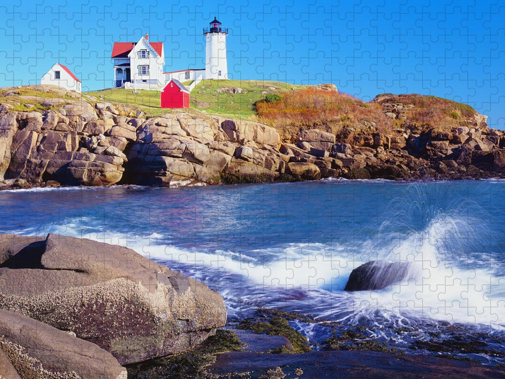 Water's Edge Puzzle featuring the photograph Nubble Lighthouse And Coastine Of Maine by Ron thomas