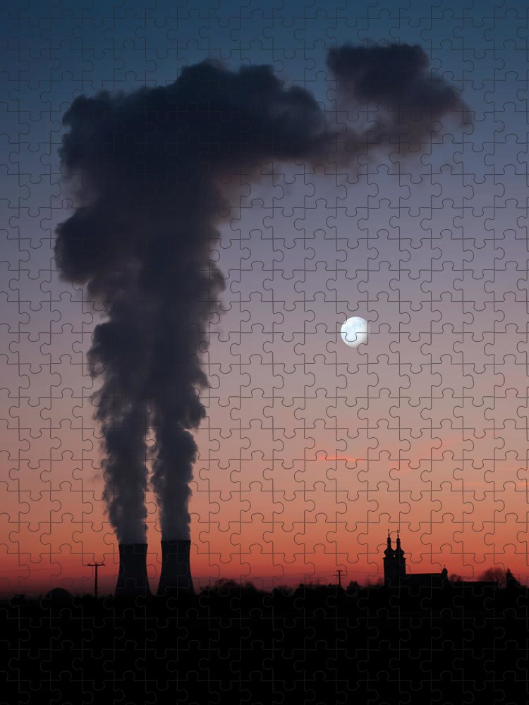 Air Pollution Puzzle featuring the photograph Nuclear Power Station In Bavaria by Michael Kohaupt