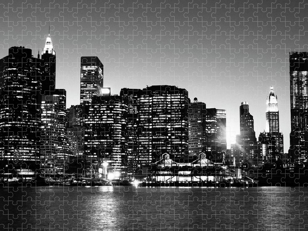 Lower Manhattan Puzzle featuring the photograph Nyc Skyline At Sunset by Lisa-blue