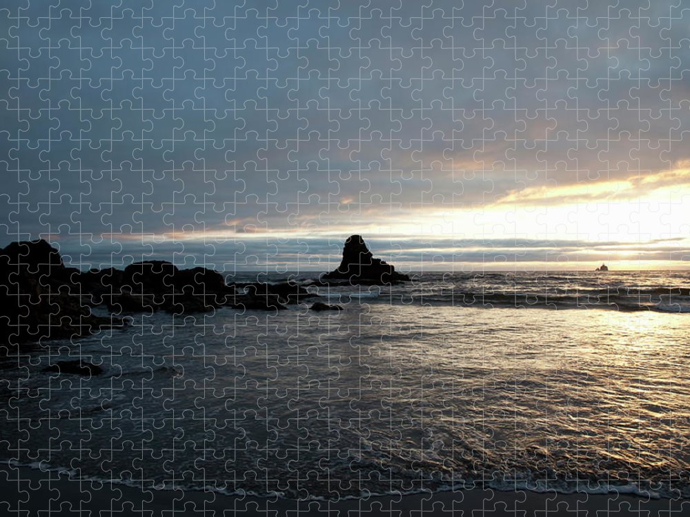 Tranquility Puzzle featuring the photograph Ocean Sunset Silhouettes Lighthouse by Driendl Group