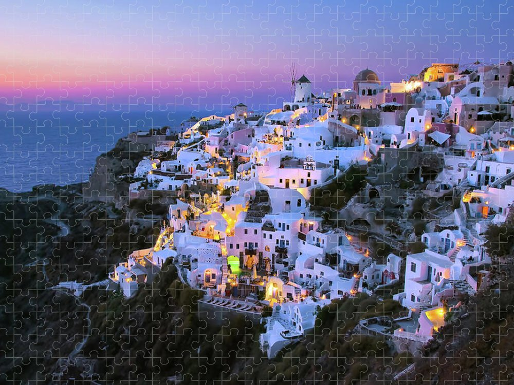 Greek Culture Puzzle featuring the photograph Oia Lights At Sunset by Greg Gibb Photography