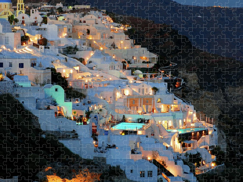 Tranquility Puzzle featuring the photograph Oia, Santorini Greece At Night by Marcel Germain