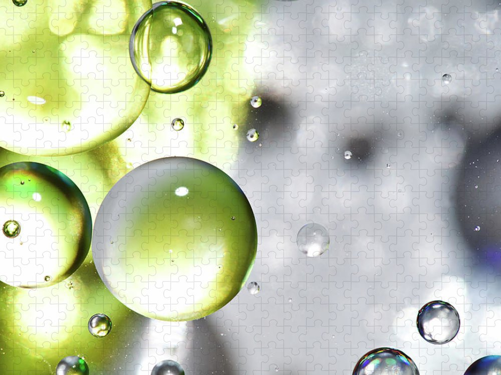 Mixing Puzzle featuring the photograph Oil Spheres by Dovate