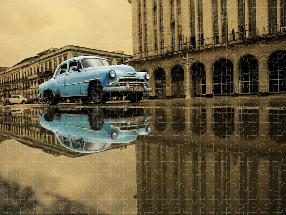 Arch Puzzle featuring the photograph Old Blue Car In Havana by 1001nights