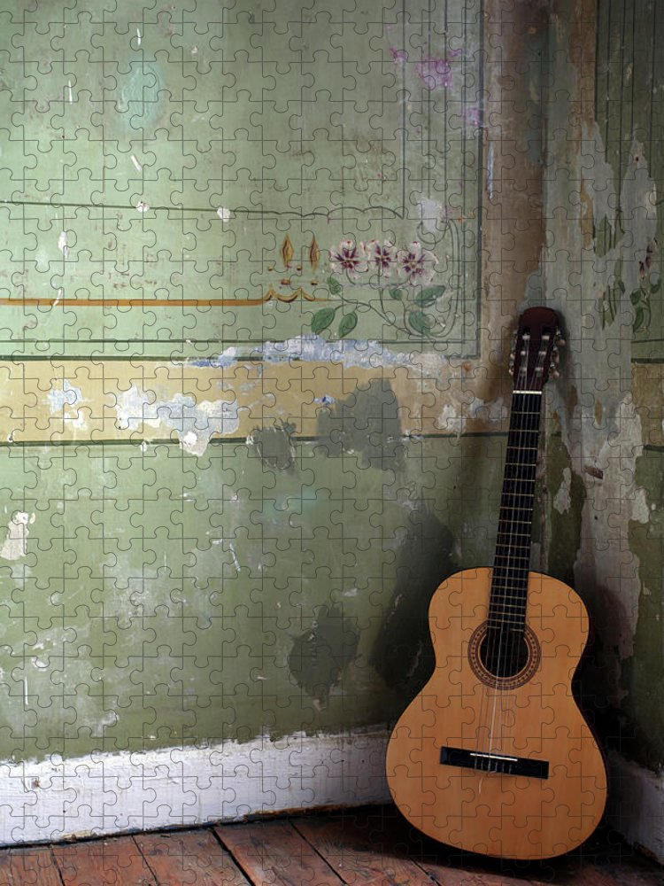 Music Puzzle featuring the photograph Old Guitar by Kursad