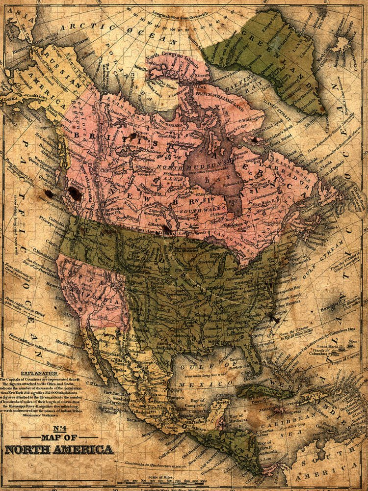 Outdoors Puzzle featuring the photograph Old North America Map by Belterz