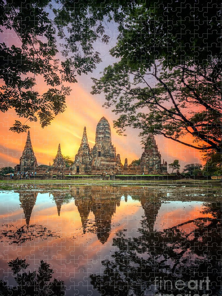 Sukhothai Puzzle featuring the photograph Old Temple Wat Chaiwatthanaram by Santiphotoss