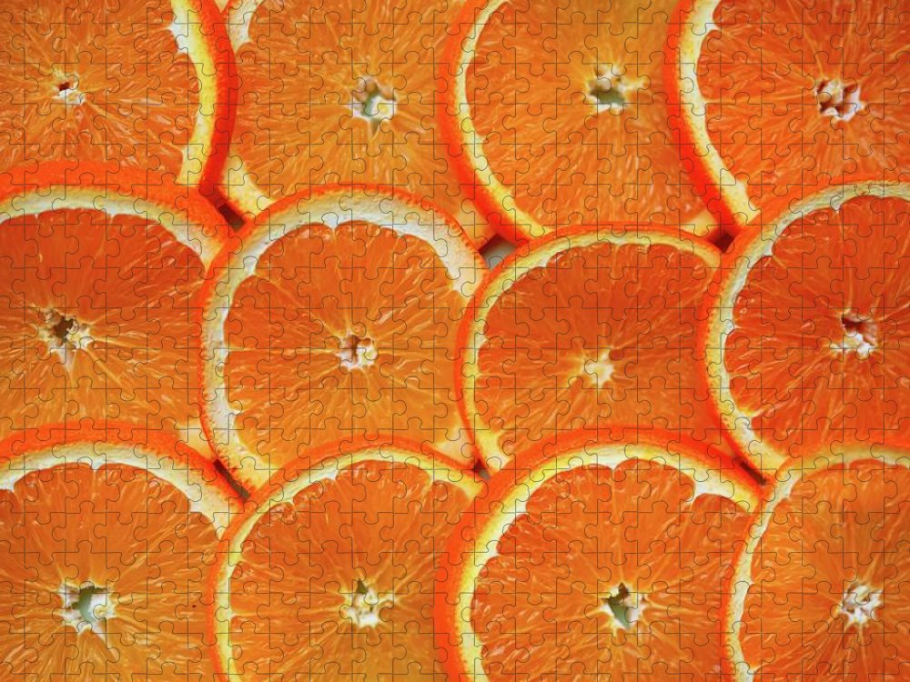 Orange Color Puzzle featuring the photograph Orange Fruit Slices by D. Sharon Pruitt Pink Sherbet Photography