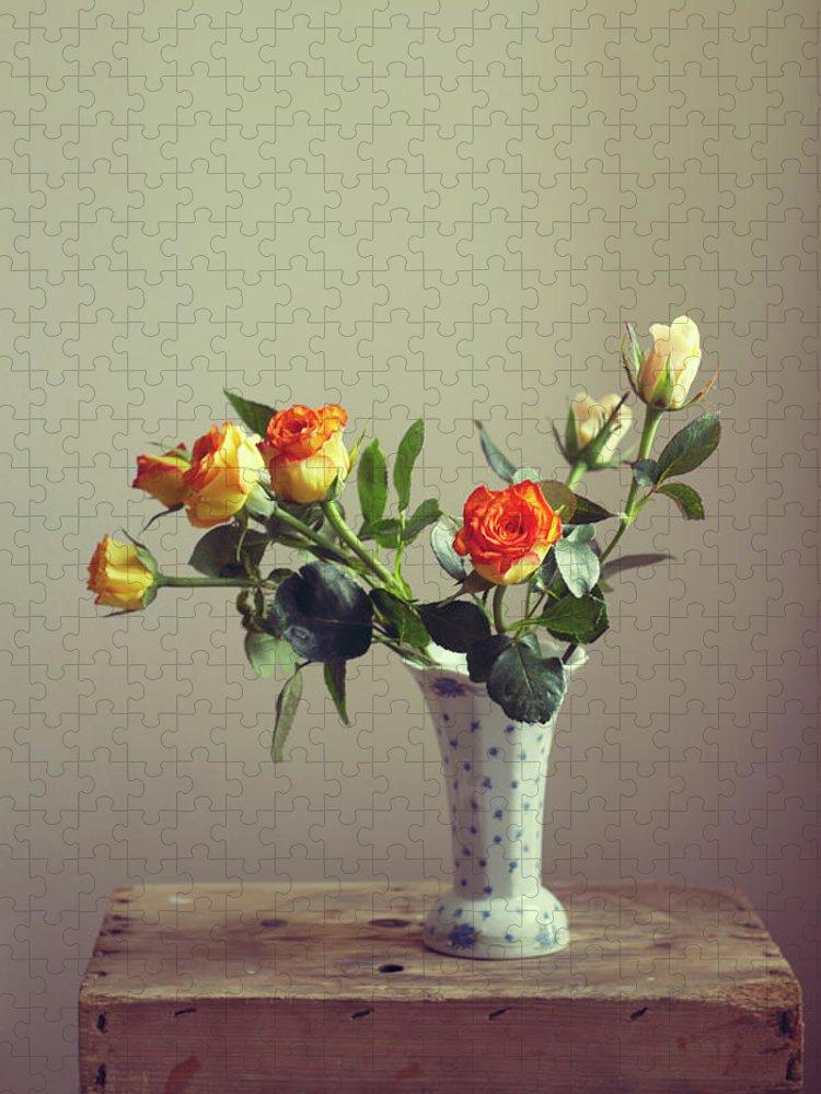 Orange Color Puzzle featuring the photograph Orange Roses In Vintage Vase by Copyright Anna Nemoy(xaomena)
