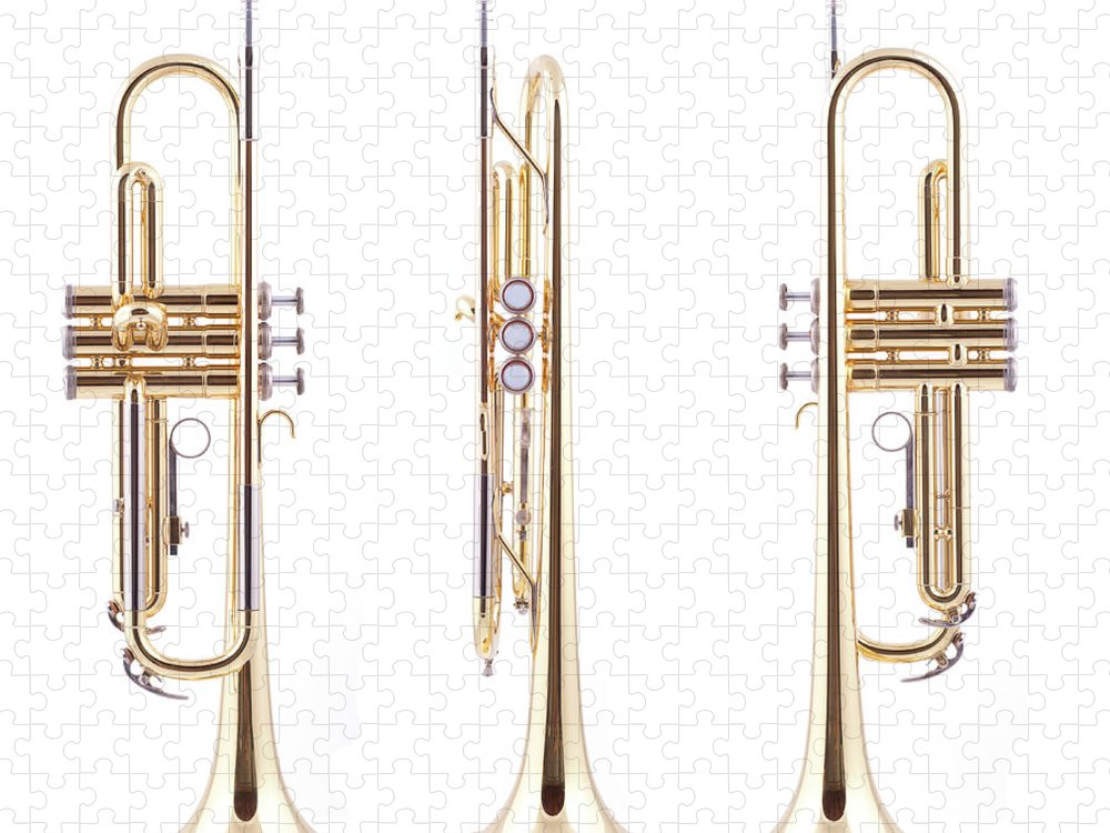 Hunting Horn Puzzle featuring the photograph Orthographic Views Of A Trumpet by Photographer3431