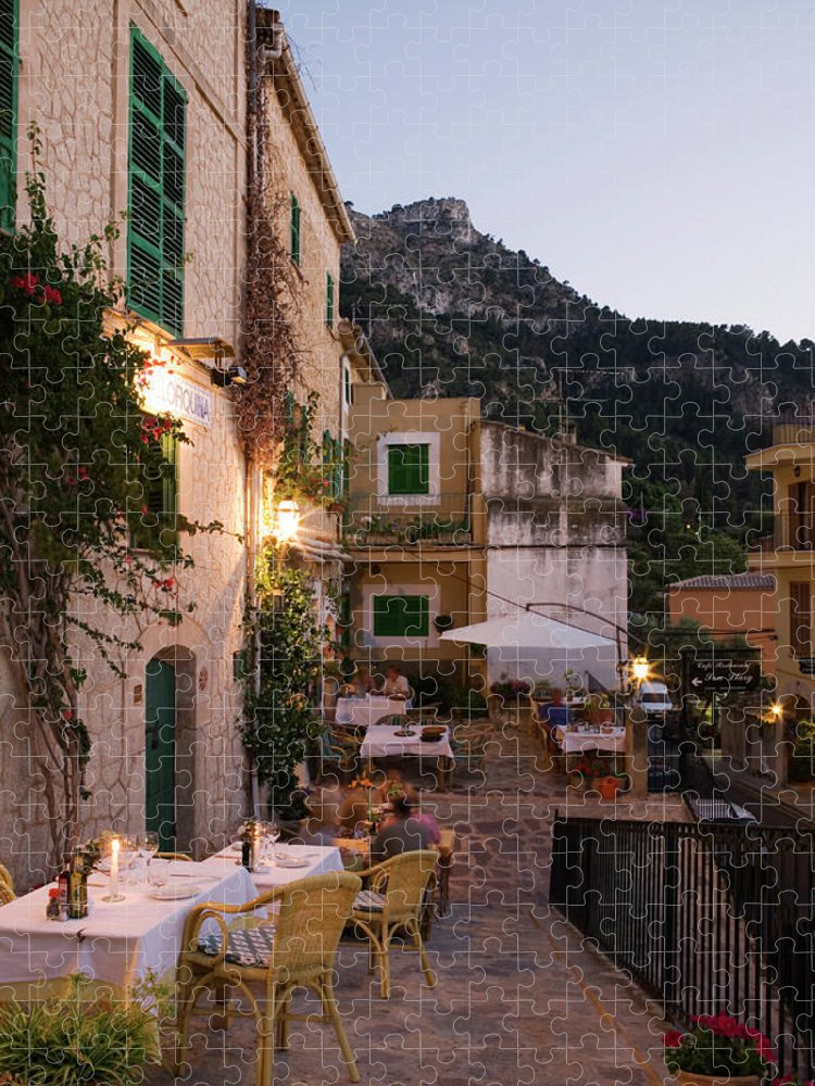 People Puzzle featuring the photograph Outdoor Seating At Son Llarg Restaurant by Holger Leue
