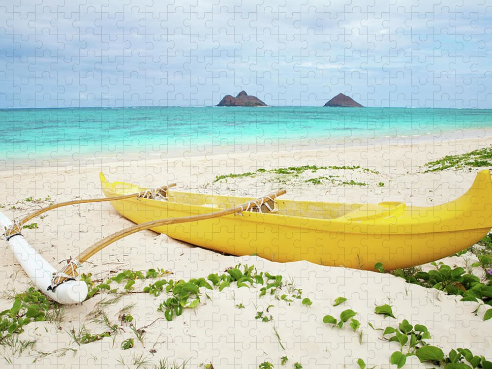 Scenics Puzzle featuring the photograph Outrigger Canoe Lanikai Beach by M Swiet Productions