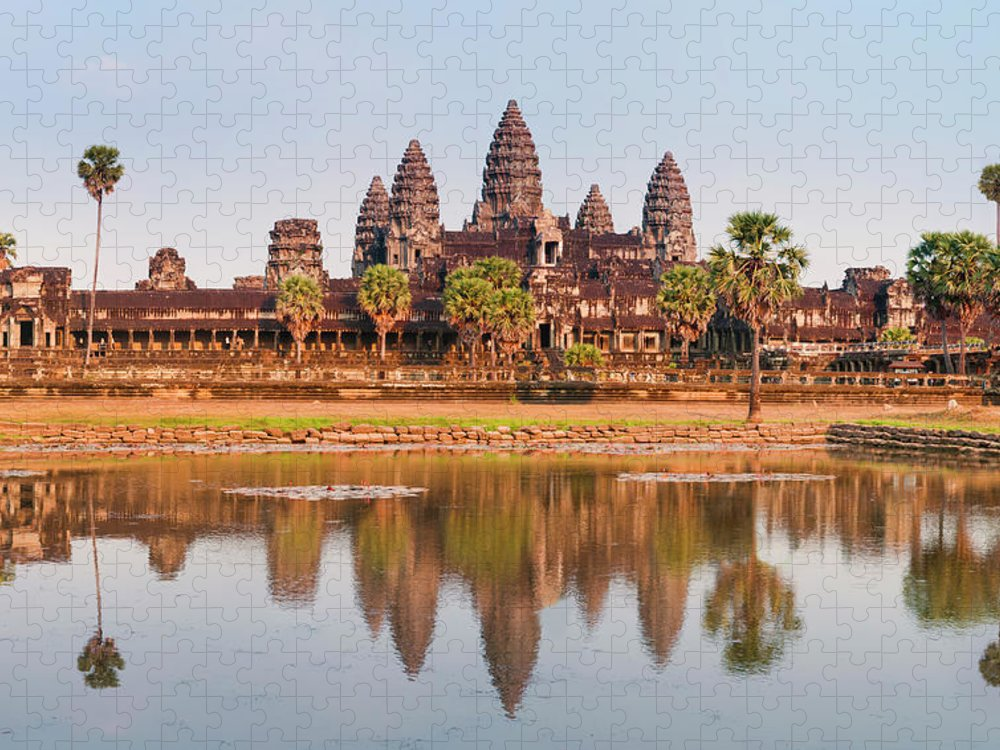 Hinduism Puzzle featuring the photograph Panorama Of Angkor Wat Cambodia Ruins by Leezsnow