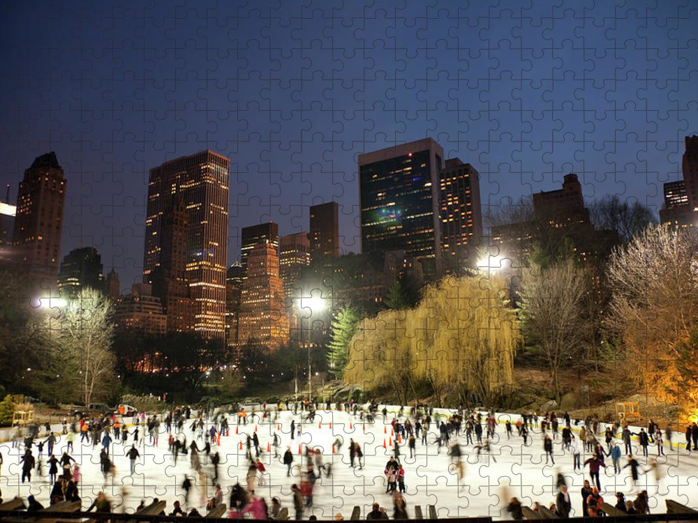People Puzzle featuring the photograph Panorama Of People Ice Skating In by Studiokiet