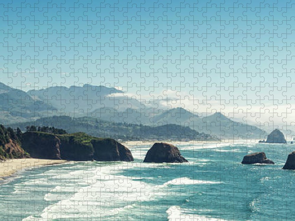Scenics Puzzle featuring the photograph Panoramic Shot Of Cannon Beach, Oregon by Kativ
