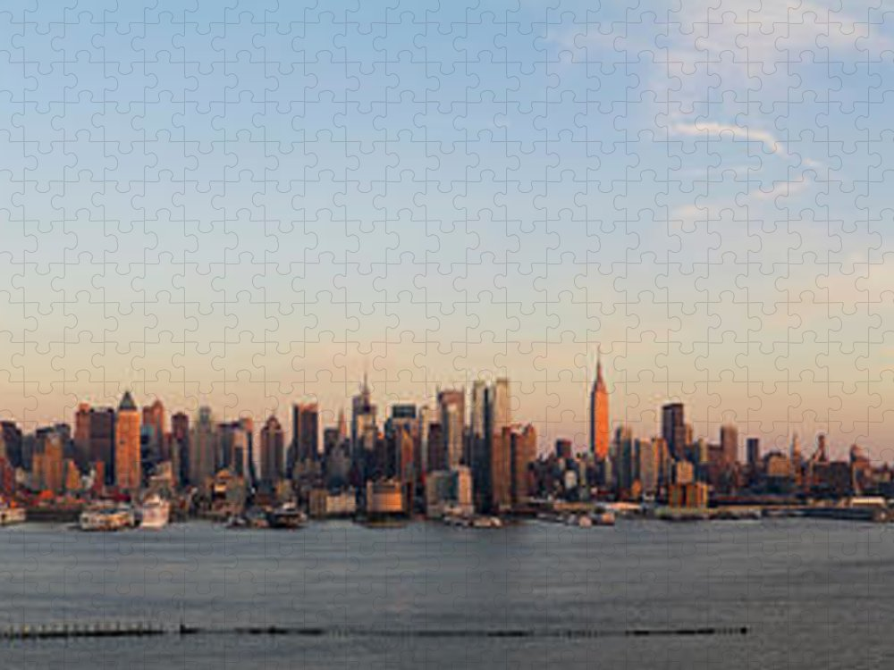 Lower Manhattan Puzzle featuring the photograph Panoramic View Of Manhattan At Sunset by Chrisp0
