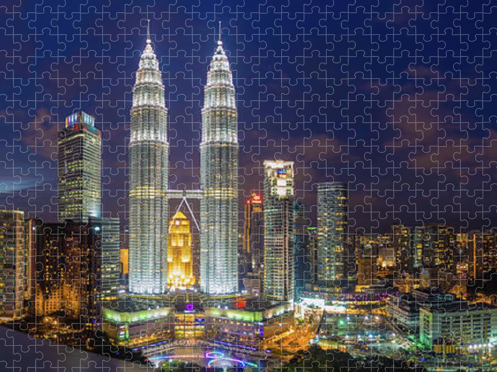 Panoramic Puzzle featuring the photograph Panoramic View Of Petronas Twin Towers by Www.imagesbyhafiz.com