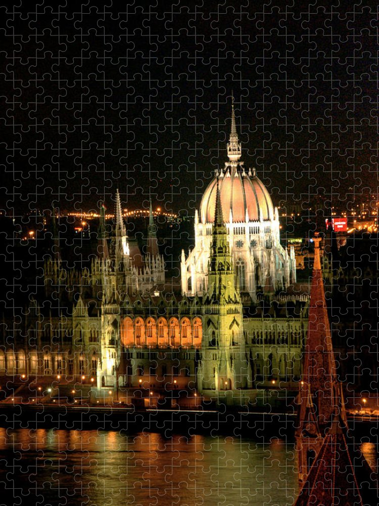 Hungarian Parliament Building Puzzle featuring the photograph Parliament Building Lit Up At Night by Roberto Herrero Garcia