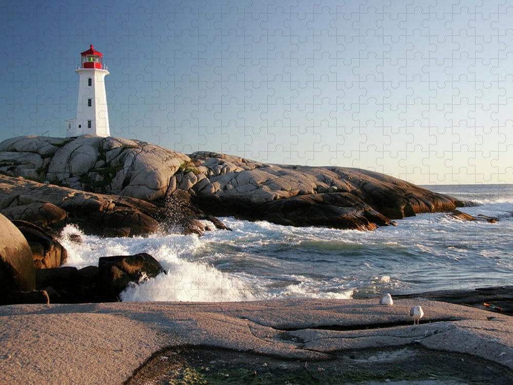 Water's Edge Puzzle featuring the photograph Peggys Cove Lighthouse & Waves by Cworthy