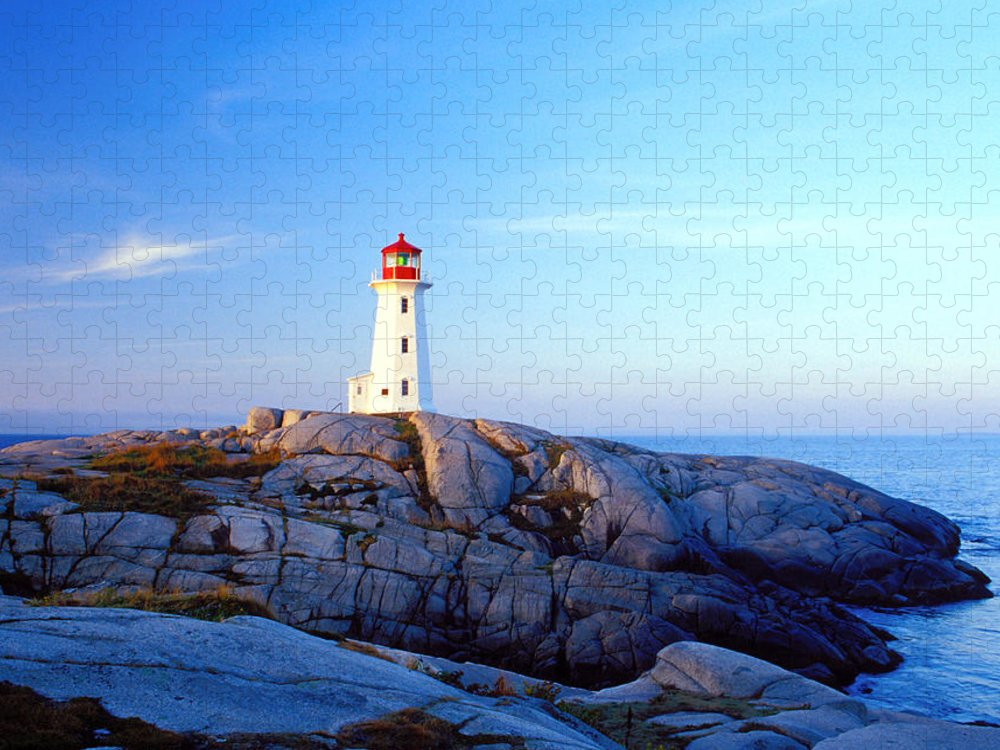Water's Edge Puzzle featuring the photograph Peggys Cove Lighthouse At Sunrise by Photorx