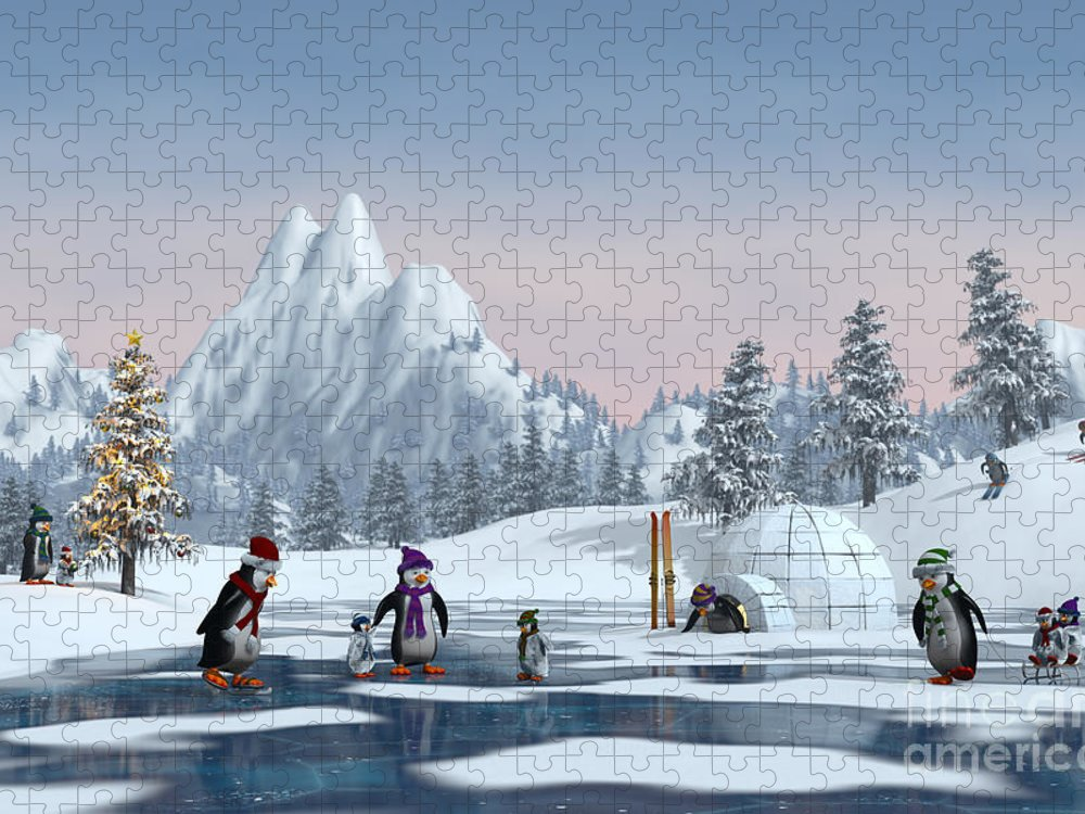 Ice Puzzle featuring the digital art Penguins On A Frozen Lake In A Snowy by Sara Winter