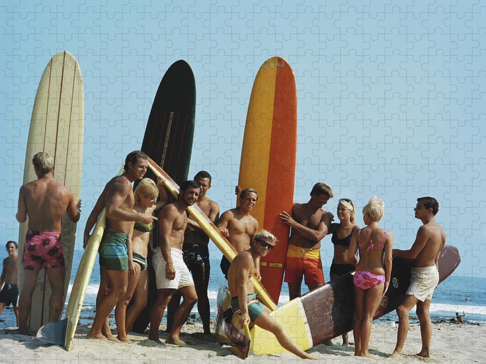 People Puzzle featuring the photograph People On Beach With Surf Board by Tom Kelley Archive