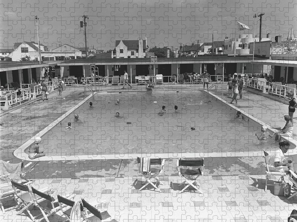 Rectangle Puzzle featuring the photograph People Swimming In Pool, B&w, Elevated by George Marks