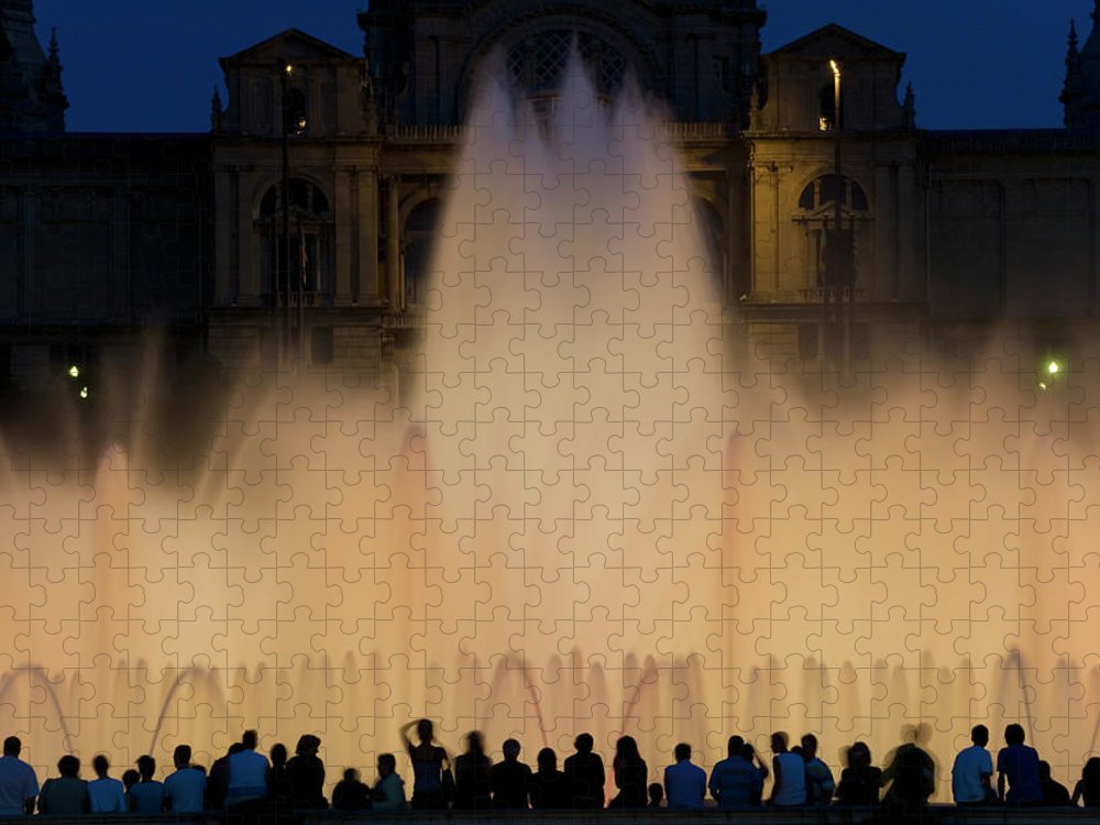 Palace Of Montjuic Puzzle featuring the photograph People Watching Fountain, Palace Of by Peter Adams
