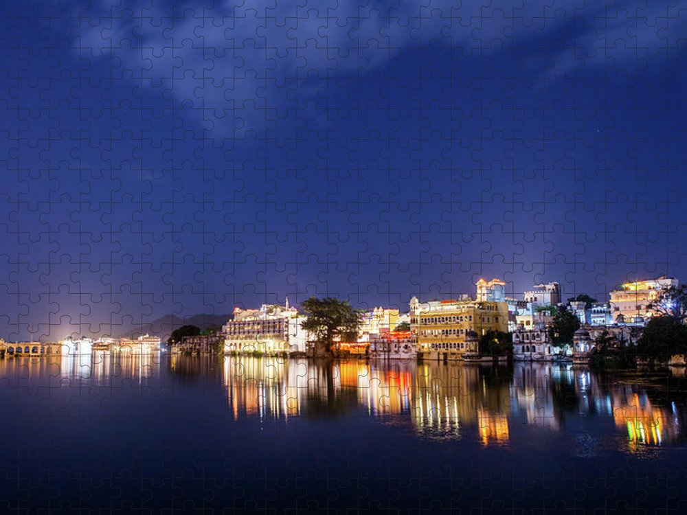 Tranquility Puzzle featuring the photograph Pichola Lake Night View by Greenlin