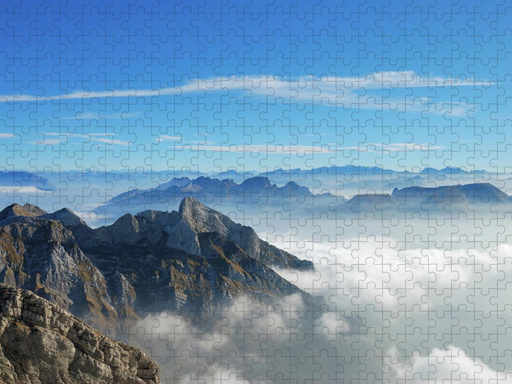 Scenics Puzzle featuring the photograph Picture Of A Mountain Top From Above by Kieselundstein