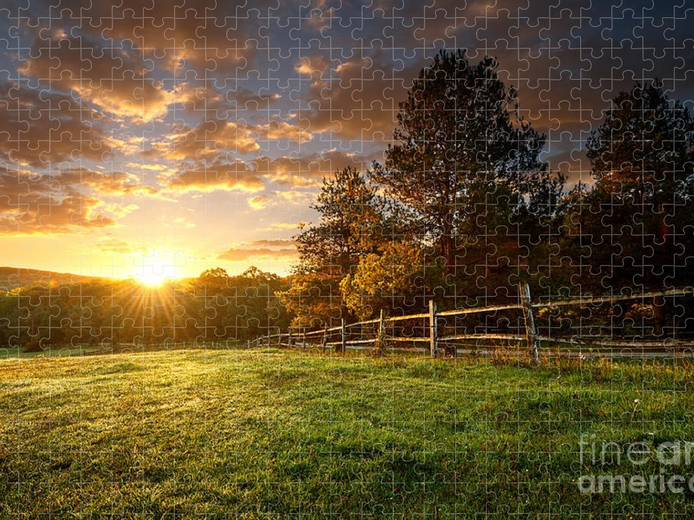 Country Puzzle featuring the photograph Picturesque Landscape Fenced Ranch by Gergely Zsolnai