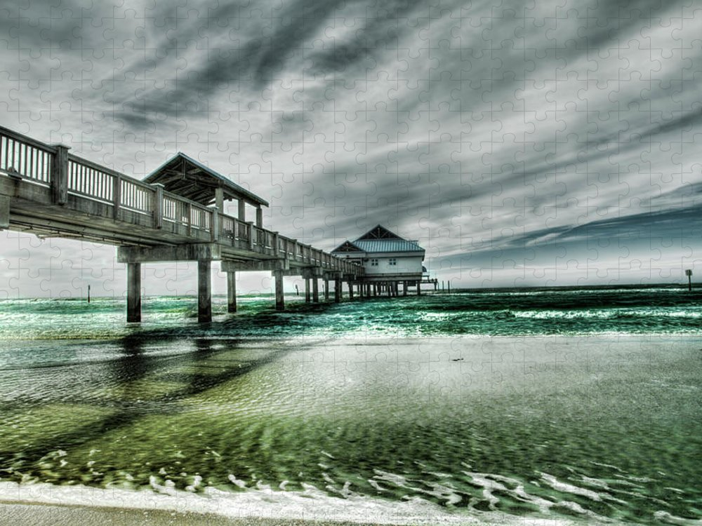 Water's Edge Puzzle featuring the photograph Pier by Chumbley Photography
