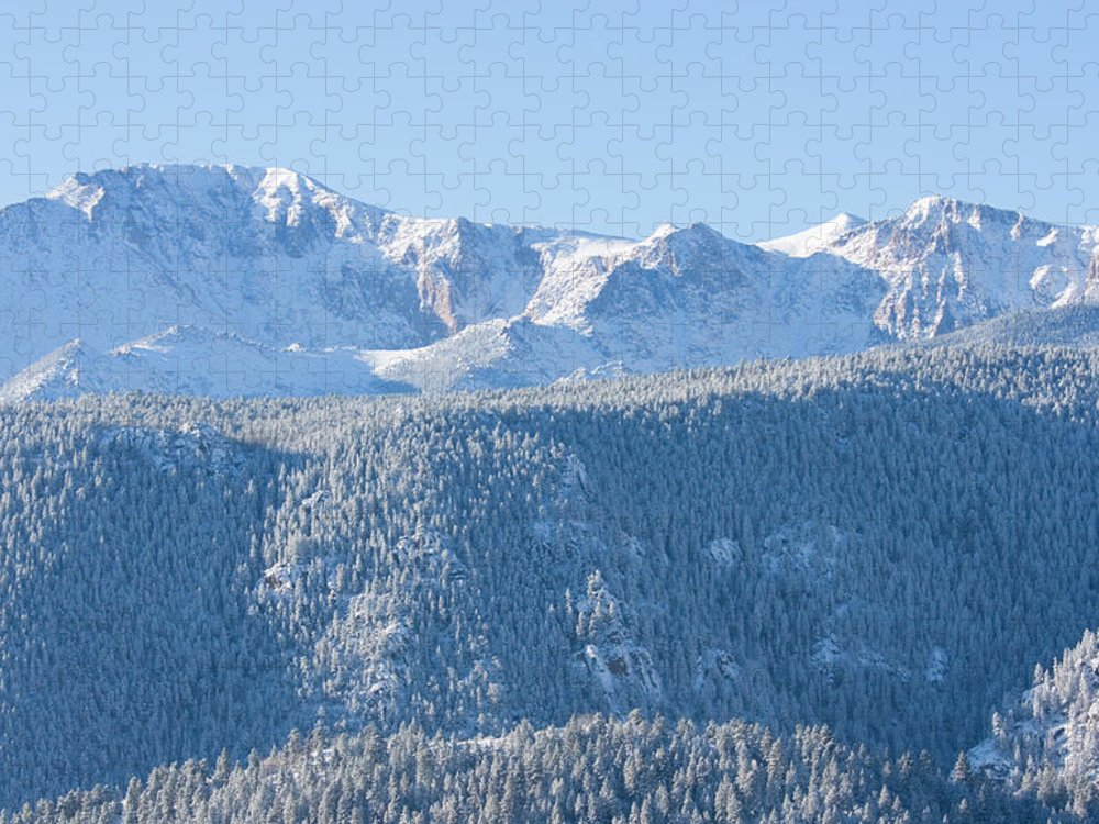 Extreme Terrain Puzzle featuring the photograph Pikes Peak In Fresh Snow by Swkrullimaging