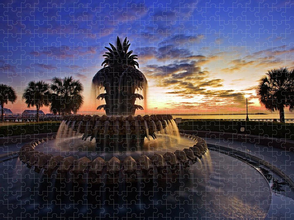 Tranquility Puzzle featuring the photograph Pineapple Fountain In Charleston by Sam Antonio Photography