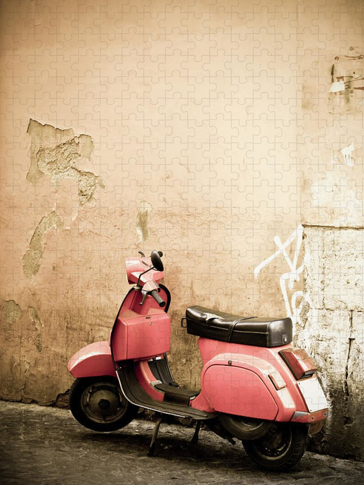 Desaturated Puzzle featuring the photograph Pink Scooter And Roman Wall, Rome Italy by Romaoslo