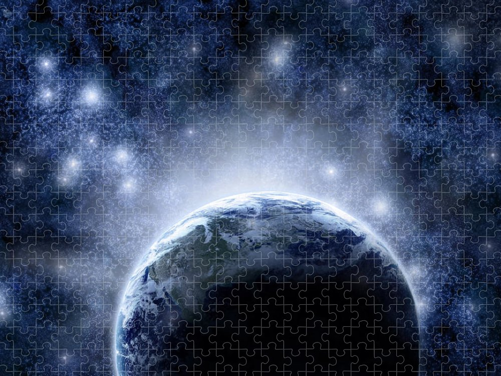 Outdoors Puzzle featuring the digital art Planet Earth And Stars by Nicholas Monu
