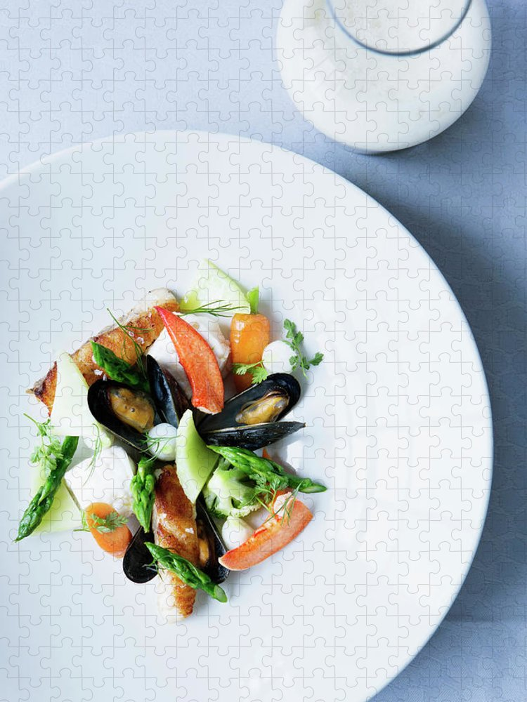 Red Bell Pepper Puzzle featuring the photograph Plate Of Mussels With Salad by Line Klein