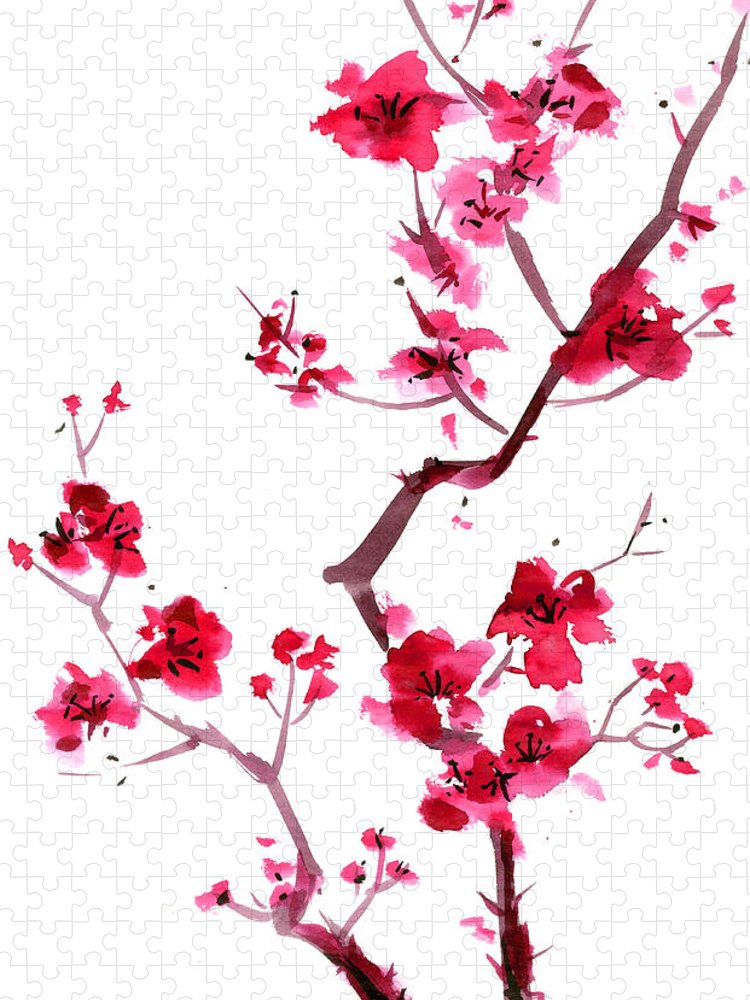 Watercolor Painting Puzzle featuring the digital art Plum Blossom Painting by Kaligraf