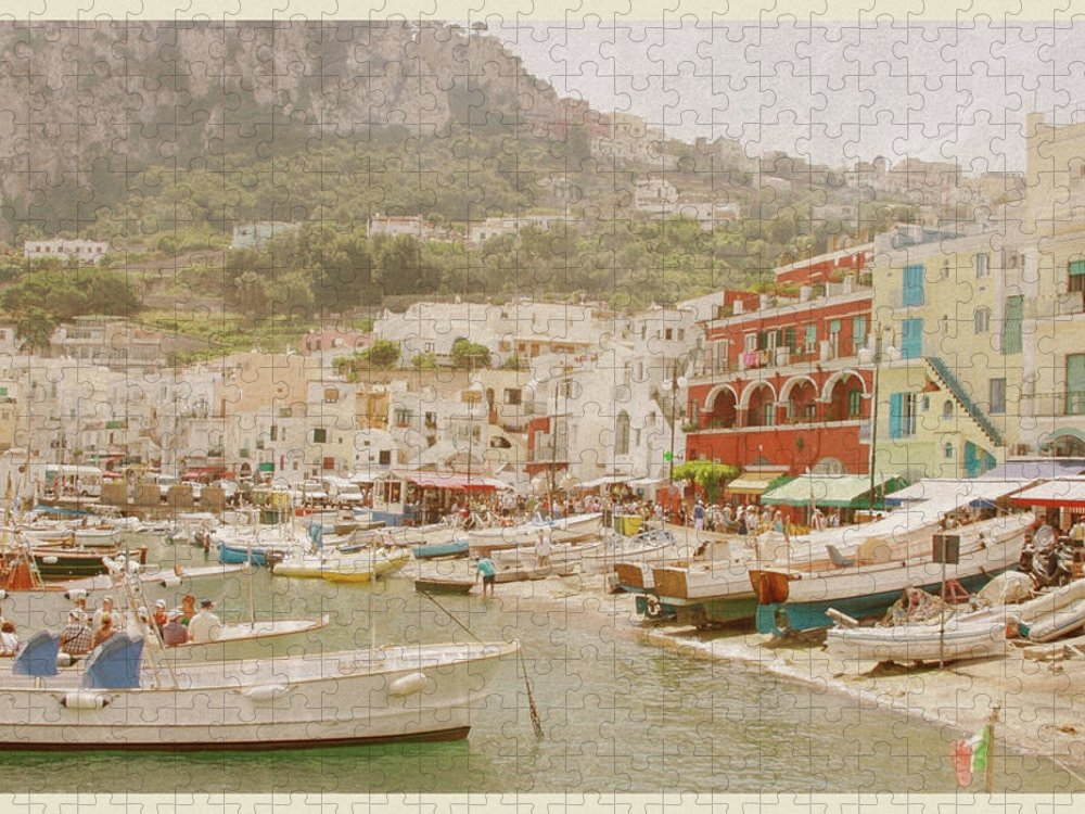 Crowd Puzzle featuring the photograph Port Of Capri, Italy - Vintage Postcard by Jitalia17