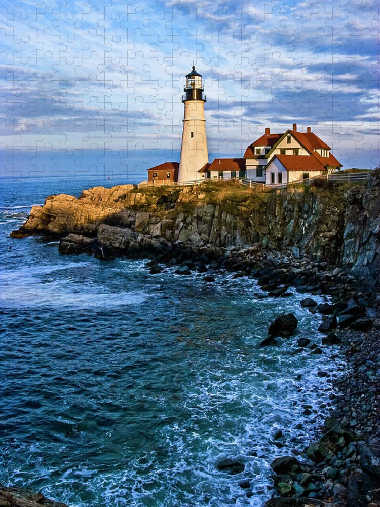 Built Structure Puzzle featuring the photograph Portland Head Light by C. Fredrickson Photography